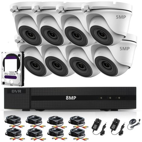 HIZONE PRO 8MP CCTV KIT SECURITY SYSTEM 4K DVR 8CH H.265+ & 8X5MP WHITE FULL HD METAL HOUSING IP66 WATERPROOF INDOOR OUTDOOR DOME CAMERAS 20M NIGHT VISION EASY P2P REMOTE VIEW- different size HDD available