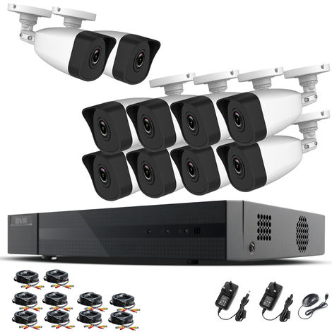 Hizone Pro Home CCTV Cameras System 16 Channel 1080P Surveillance DVR Kit and 10 x 2MP 3.6mm Outdoor Indoor White Bullet CCTV Cameras 1080P HD smart Security Camera system Motion Detection Email Alert P2P Free HIC-CONNECT APP-different size HDD available