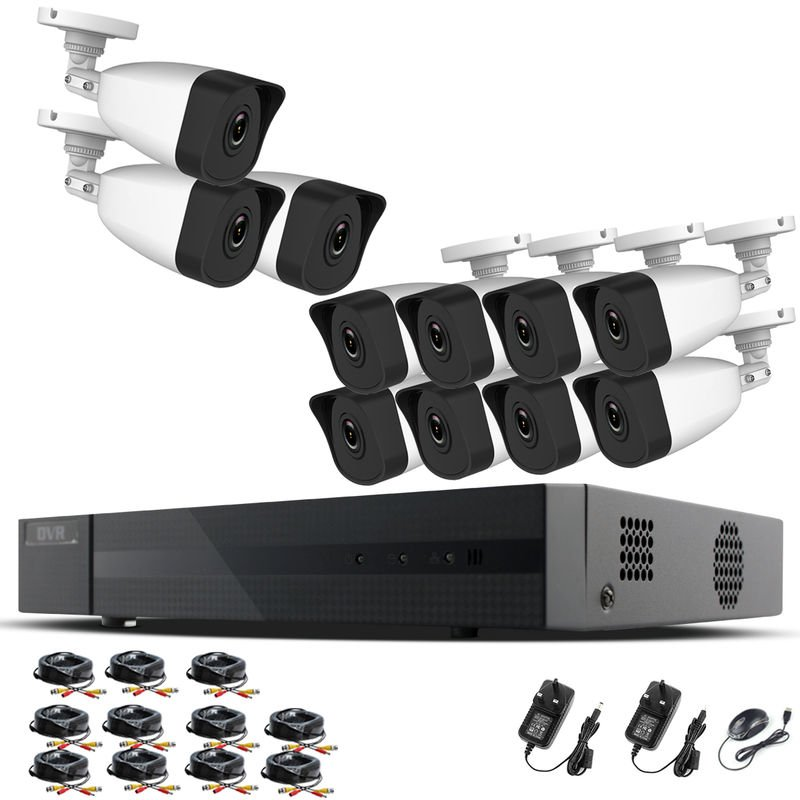 Hizone Pro Home CCTV Cameras System 16 Channel 1080P Surveillance DVR Kit  and 11 x 2MP 3 6mm Outdoor Indoor White Bullet CCTV Cameras 1080P HD smart