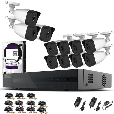 Hizone Pro Home CCTV Cameras System 16 Channel 1080P Surveillance DVR Kit and 11 x 2MP 3.6mm Outdoor Indoor White Bullet CCTV Cameras 1080P HD smart Security Camera system Motion Detection Email Alert P2P Free HIC-CONNECT APP-different size HDD available