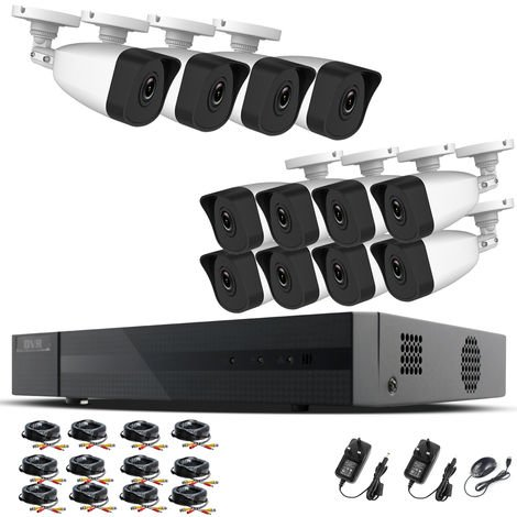 Hizone Pro Home CCTV Cameras System 16 Channel 1080P Surveillance DVR Kit and 12 x 2MP 3.6mm Outdoor Indoor White Bullet CCTV Cameras 1080P HD smart Security Camera system Motion Detection Email Alert P2P Free HIC-CONNECT APP-different size HDD available