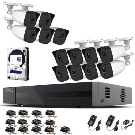 Hizone Pro Home CCTV Cameras System 16 Channel 1080P Surveillance DVR Kit and 13 x 2MP 3.6mm Outdoor Indoor White Bullet CCTV Cameras 1080P HD smart Security Camera system Motion Detection Email Alert P2P Free HIK-CONNECT APP (6TB HDD Pre-Installed)