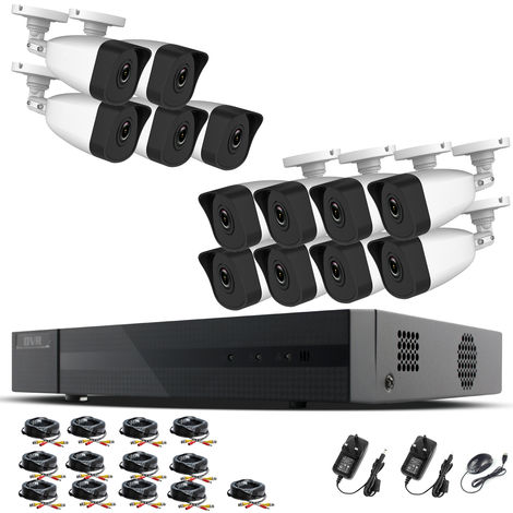 Hizone Pro Home CCTV Cameras System 16 Channel 1080P Surveillance DVR Kit and 13 x 2MP 3.6mm Outdoor Indoor White Bullet CCTV Cameras 1080P HD smart Security Camera system Motion Detection Email Alert P2P Free HIC-CONNECT APP-different size HDD available