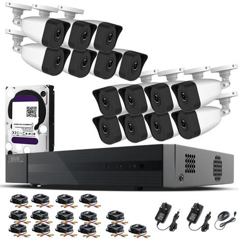 Hizone Pro Home CCTV Cameras System 16 Channel 1080P Surveillance DVR Kit and 15 x 2MP 3.6mm Outdoor Indoor White Bullet CCTV Cameras 1080P HD smart Security Camera system Motion Detection Email Alert P2P Free HIC-CONNECT AP-different size HDD available