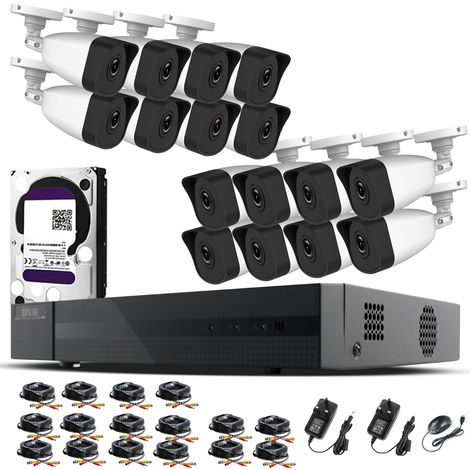 Hizone Pro Home CCTV Cameras System 16 Channel 1080P Surveillance DVR Kit and 16 x 2MP 3.6mm Outdoor Indoor White Bullet CCTV Cameras 1080P HD smart Security Camera system Motion Detection Email Alert P2P Free HIK-CONNECT APP (6TB HDD Pre-Installed)