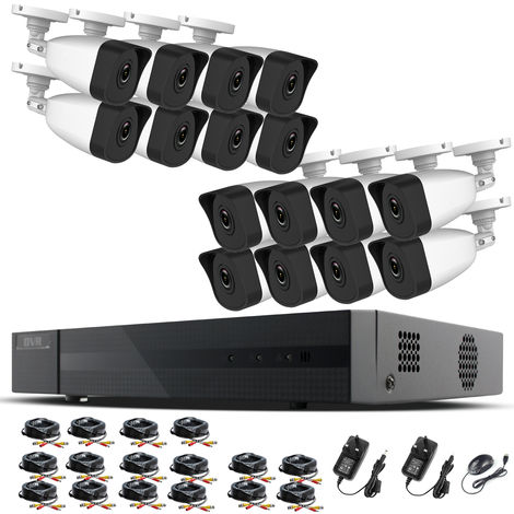 Hizone Pro Home CCTV Cameras System 16 Channel 1080P Surveillance DVR Kit and 16 x 2MP 3.6mm Outdoor Indoor White Bullet CCTV Cameras 1080P HD smart Security Camera system Motion Detection Email Alert P2P Free HIC-CONNECT APP-different size HDD available