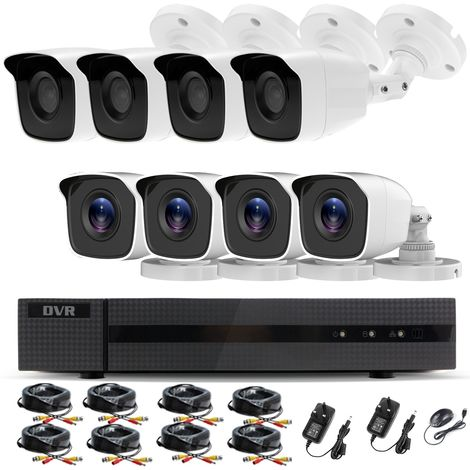Hizone Pro Home CCTV Cameras System 16 Channel 1080P Surveillance DVR Kit and 8 x 2MP 3.6mm Outdoor Indoor White Bullet CCTV Cameras 1080P HD smart Security Camera system Motion Detection Email Alert P2P Free HIC-CONNECT APP-different size HDD available