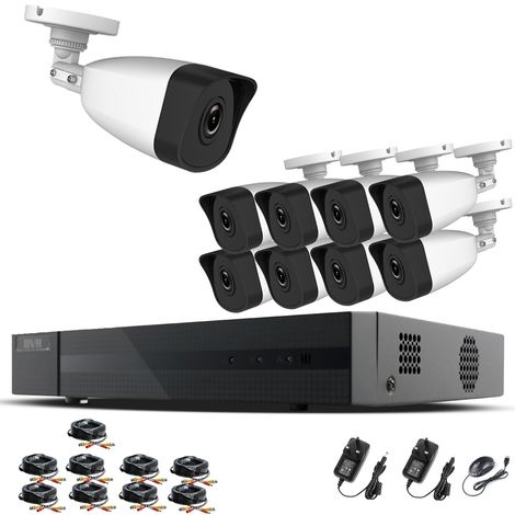 Hizone Pro Home CCTV Cameras System 16 Channel 1080P Surveillance DVR Kit and 9 x 2MP 3.6mm Outdoor Indoor White Bullet CCTV Cameras 1080P HD smart Security Camera system Motion Detection Email Alert P2P Free HIC-CONNECT APP-different size HDD available