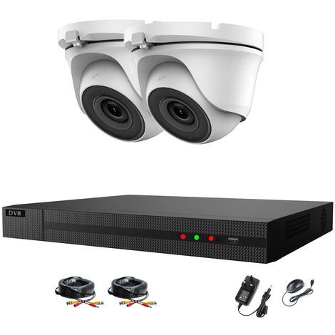 Hizone Pro Home CCTV Cameras System 4 Channel 1080P Surveillance DVR Kit and 2 x 2MP 3.6mm Outdoor Dome CCTV Cameras 1080P HD smart Security Camera system Motion Detection Email Alert Remote View P2P- different size HDD available