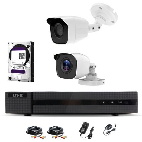 Hizone Pro Home CCTV Cameras System 4 Channel 1080P Surveillance DVR Kit and 2 x 2MP 3.6mm Outdoor White Bullet CCTV Cameras 1080P HD smart Security Camera system Motion Detection Email Alert Remote View Free HIC-CONNECT APP-different size HDD available
