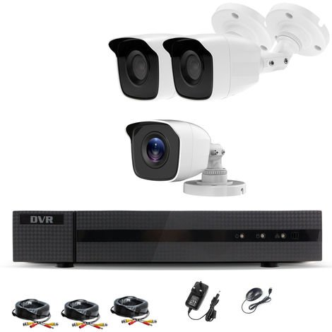 Hizone Pro Home CCTV Cameras System 4 Channel 1080P Surveillance DVR Kit and 3 x 2MP 3.6mm Outdoor White Bullet CCTV Cameras 1080P HD smart Security Camera system Motion Detection Email Alert Remote View Free HIC-CONNECT APP-different size HDD available