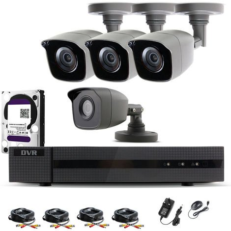 Hizone Pro Home CCTV Cameras System 4 Channel 1080P Surveillance DVR Kit and 4 x 2MP 3.6mm Outdoor Gray Bullet CCTV Cameras 1080P HD smart Security Camera system Motion Detection Email Alert Remote View Free HIC-CONNECT APP-different size HDD available