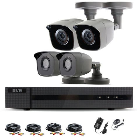 """main image of """"Hizone Pro Home CCTV Cameras System 4 Channel 1080P Surveillance DVR Kit and 4 x 2MP 3.6mm Outdoor Gray Bullet CCTV Cameras 1080P HD smart Security Camera system Motion Detection Email Alert Remote View Free HIC-CONNECT APP-different size HDD available"""""""