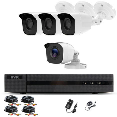 Hizone Pro Home CCTV Cameras System 4 Channel 1080P Surveillance DVR Kit and 4 x 2MP 3.6mm Outdoor White Bullet CCTV Cameras 1080P HD smart Security Camera system Motion Detection Email Alert Remote View Free HIC-CONNECT APP-different size HDD available