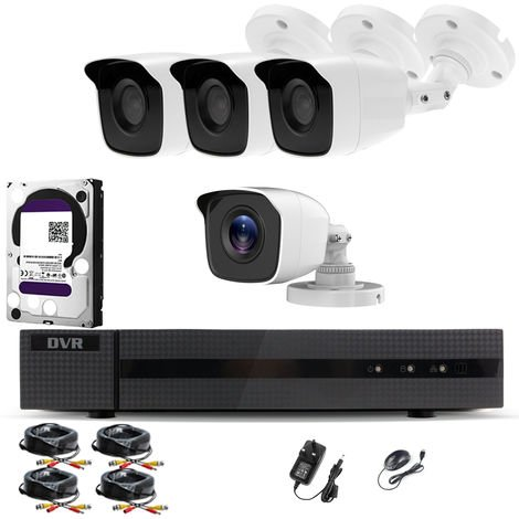 Hizone Pro Home CCTV Cameras System 8 Channel 1080P Surveillance DVR Kit and 4 x 2MP 3.6mm Outdoor Indoor White Bullet CCTV Cameras 1080P HD smart Security Camera system Motion Detection Email Alert P2P Free HIC-CONNECT APP-different size HDD available