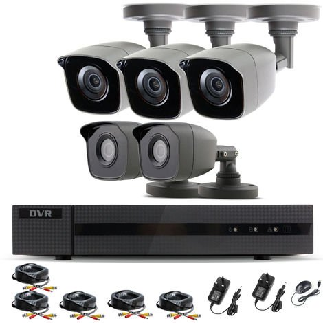 Hizone Pro Home CCTV Cameras System 8 Channel 1080P Surveillance DVR Kit and 5 x 2MP 3.6mm Outdoor Indoor Gray Bullet CCTV Cameras 1080P HD smart Security Camera system Motion Detection Email Alert P2P Free HIC-CONNECT APP-different size HDD available