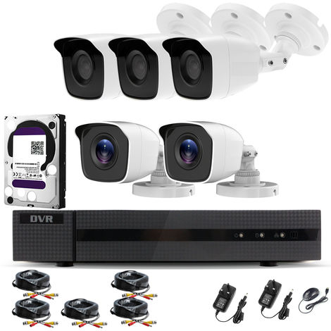 Hizone Pro Home CCTV Cameras System 8 Channel 1080P Surveillance DVR Kit and 5 x 2MP 3.6mm Outdoor Indoor White Bullet CCTV Cameras 1080P HD smart Security Camera system Motion Detection Email Alert P2P Free HIC-CONNECT APP-different size HDD available
