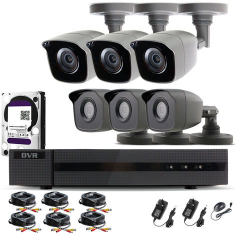 Hizone Pro Home CCTV Cameras System 8 Channel 1080P Surveillance DVR Kit and 6 x 2MP 3.6mm Outdoor Indoor Gray Bullet CCTV Cameras 1080P HD smart Security Camera system Motion Detection Email Alert P2P Free HIC-CONNECT APP-different size HDD available