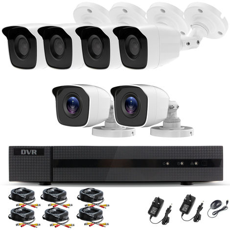 Hizone Pro Home CCTV Cameras System 8 Channel 1080P Surveillance DVR Kit and 6 x 2MP 3.6mm Outdoor Indoor White Bullet CCTV Cameras 1080P HD smart Security Camera system Motion Detection Email Alert P2P Free HIC-CONNECT APP-different size HDD available