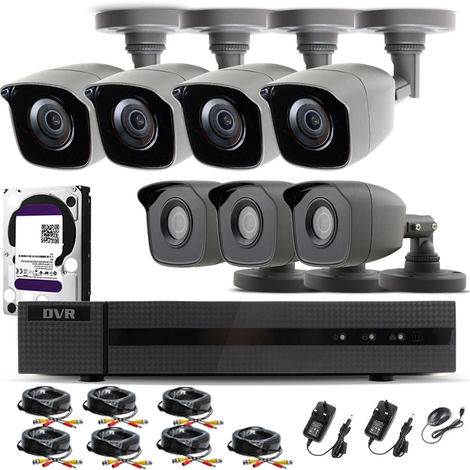 Hizone Pro Home CCTV Cameras System 8 Channel 1080P Surveillance DVR Kit and 7 x 2MP 3.6mm Outdoor Indoor Gray Bullet CCTV Cameras 1080P HD smart Security Camera system Motion Detection Email Alert P2P Free HIC-CONNECT APP-different size HDD available