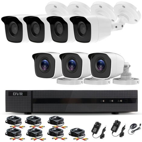 Hizone Pro Home CCTV Cameras System 8 Channel 1080P Surveillance DVR Kit and 7 x 2MP 3.6mm Outdoor Indoor White Bullet CCTV Cameras 1080P HD smart Security Camera system Motion Detection Email Alert P2P Free HIC-CONNECT APP-different size HDD available