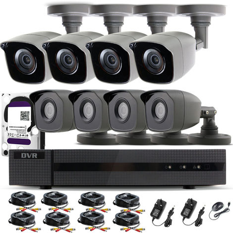 Hizone Pro Home CCTV Cameras System 8 Channel 1080P Surveillance DVR Kit and 8 x 2MP 3.6mm Outdoor Indoor Gray Bullet CCTV Cameras 1080P HD smart Security Camera system Motion Detection Email Alert P2P Free HIC-CONNECT APP-different size HDD available
