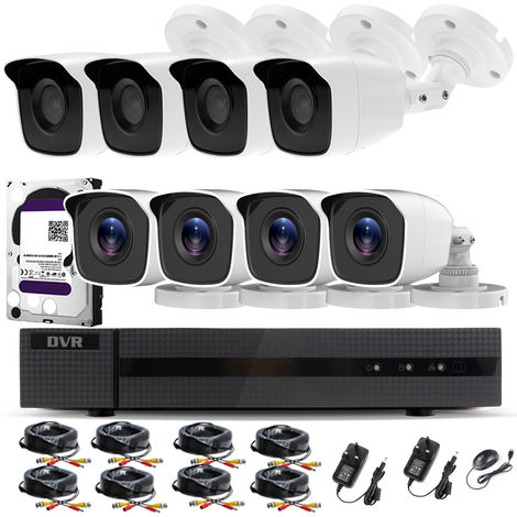 Hizone Pro Home CCTV Cameras System 8 Channel 1080P Surveillance DVR Kit and 8 x 2MP 3.6mm Outdoor Indoor White Bullet CCTV Cameras 1080P HD smart Security Camera system Motion Detection Email Alert P2P Free HIC-CONNECT APP-different size HDD available