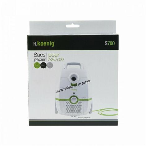 H.KOENIG S700 12 sacs papier pour aspirateur AXO700 et AXO800