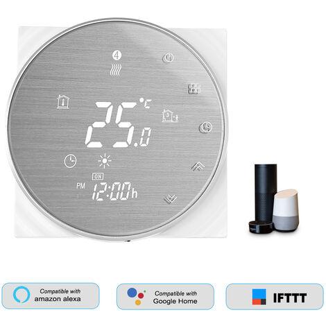 HL-6000L-GALW WiFi termostato inteligente de la temperatura del agua de calefaccion Controlador Digital de Gran pantalla LCD Visualizacion del boton de control tactil de voz compatible con Amazon Eco / Google Inicio / Tmall Genie / IFTTT 3A AC 95-240V, Bl