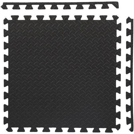 HMSPORT | Tapis de protection de sol 6 dalles 60x60 cm | Tapis réduction bruits + vibrations | Daless matériel fitness gym - Noir