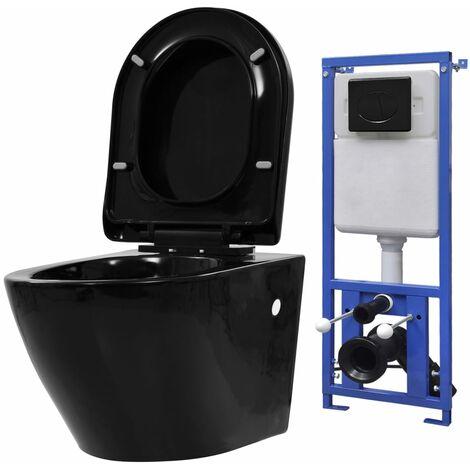 H?nge-Toilette mit Unterputzspülkasten Keramik Schwarz