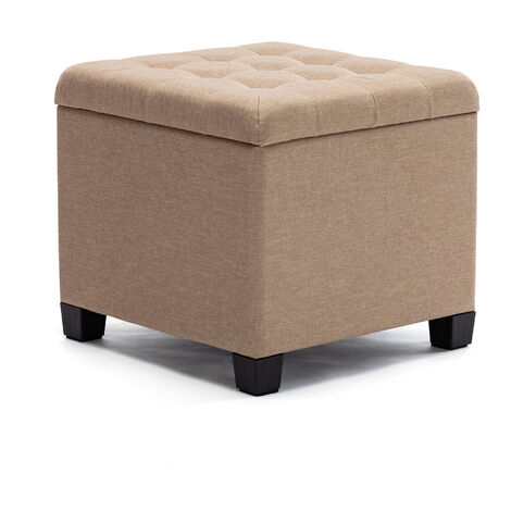 HNNHOME Pouffe Footstool Ottoman Storage Box, 45cm Cube Strong Wooden Frame Linen Living Room Foot stool, Toy Chest, Dressing Stool Seat Chair with Lids For Bedroom (Beige)