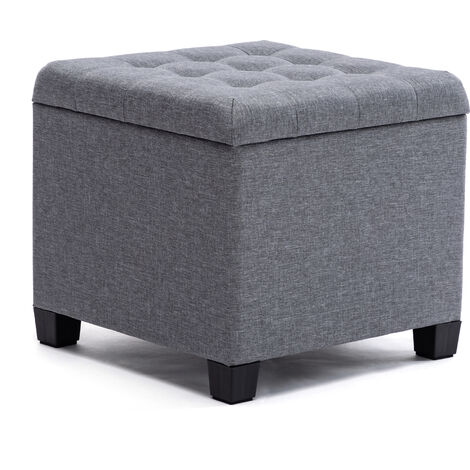 HNNHOME Pouffe Footstool Ottoman Storage Box, 45cm Cube Strong Wooden Frame Linen Living Room Foot stool, Toy Chest, Dressing Stool Seat Chair with Lids For Bedroom (Grey) - LF GREY
