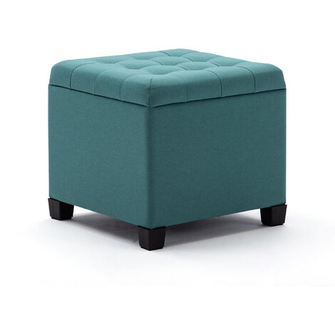 HNNHOME Pouffe Footstool Ottoman Storage Box, 45cm Cube Strong Wooden Frame Linen Living Room Foot stool, Toy Chest, Dressing Stool Seat Chair with Lids For Bedroom (Light Green)