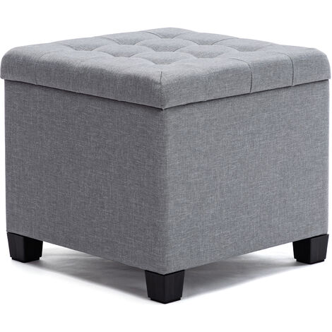 HNNHOME Pouffe Footstool Ottoman Storage Box, 45cm Cube Strong Wooden Frame Linen Living Room Foot stool, Toy Chest, Dressing Stool Seat Chair with Lids For Bedroom (Light Grey)