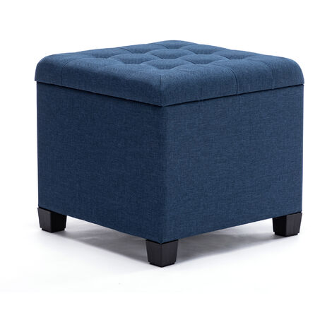 HNNHOME Pouffe Footstool Ottoman Storage Box, 45cm Cube Strong Wooden Frame Linen Living Room Foot stool, Toy Chest, Dressing Stool Seat Chair with Lids For Bedroom (Navy)