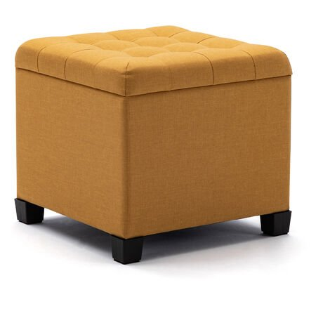 HNNHOME Pouffe Footstool Ottoman Storage Box, 45cm Cube Strong Wooden Frame Linen Living Room Foot stool, Toy Chest, Dressing Stool Seat Chair with Lids For Bedroom (Yellow)