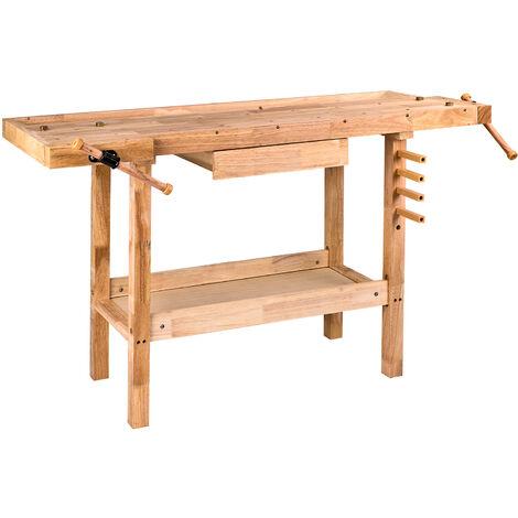 Hobelbank Werkbank aus Holz 137x50x86 cm Holzwerkbank Werktisch Arbeitstisch