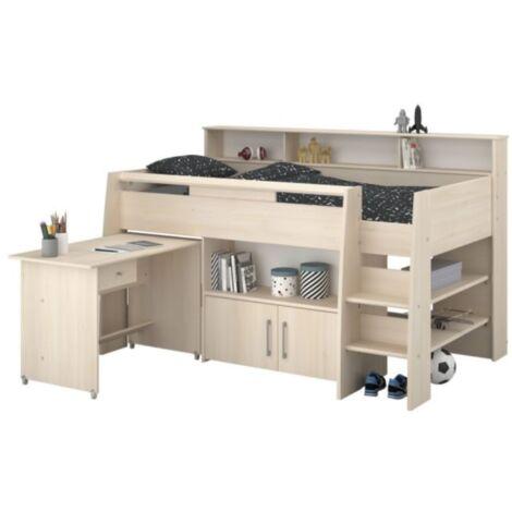 Hochbett Adone inkl. Lattenrostplatte + Schreibtisch + Kommode + Ablagefach + Bücherregale grau
