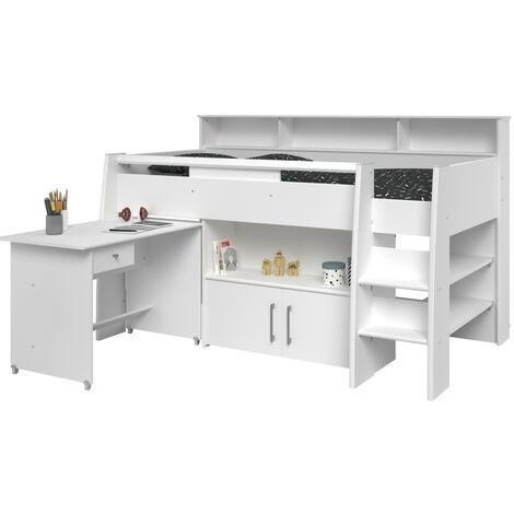 Hochbett Adone inkl. Lattenrostplatte + Schreibtisch + Kommode + Ablagefach + Bücherregale weiß