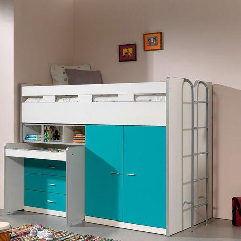 Hochbett BONNY-12 mit Schreibtisch und Stauraum - Liegefläche 90x200cm - weiß & türkis - Stellmaß B/H/T: 227/150/95cm