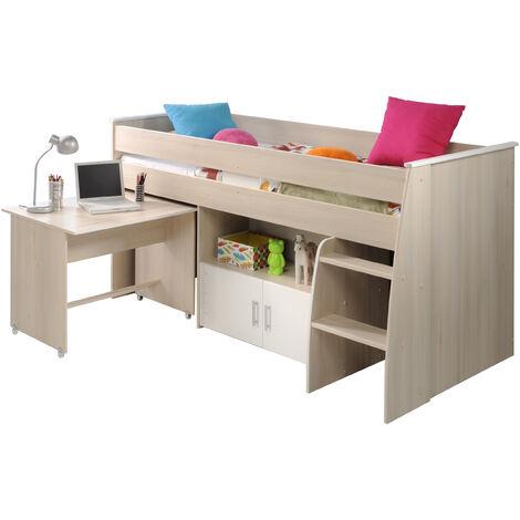 Hochbett Charly Parisot inkl. Schreibtisch + Kommode + Ablagefach + Lattenrostplatte beige - weiß