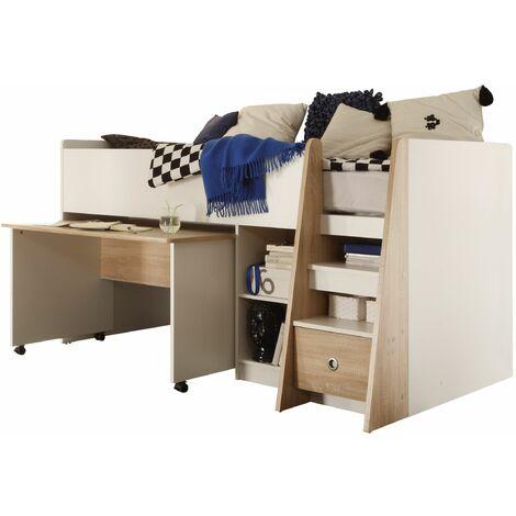 Hochbett Justin inklusive ausziehbaren Schreibtisch + Regal + Schubkasten + Lattenrostplatte Eiche