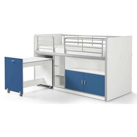 Hochbett Tomek inklusive Schreibtisch weiß - blau EN 747-1+2