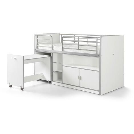 Hochbett Tomek inklusive Schreibtisch weiß EN 747-1+2