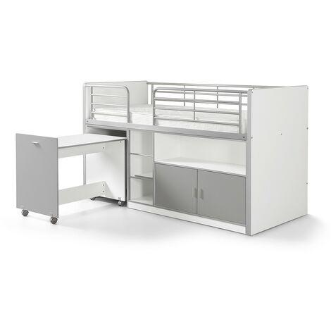 Hochbett Tomek inklusive Schreibtisch weiß - grau EN 747-1+2