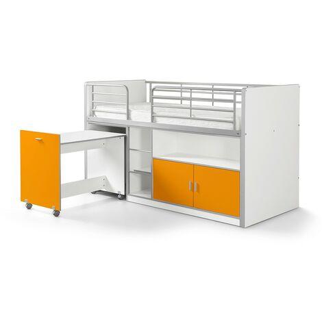 Hochbett Tomek inklusive Schreibtisch weiß - orange EN 747-1+2