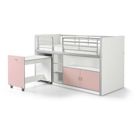 Hochbett Tomek inklusive Schreibtisch weiß - rosa EN 747-1+2