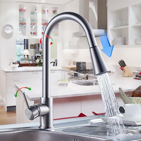 Hochdruck Küchenarmatur 360° Drehbar Wasserhahn Küche, Einhand-Spültischarmatur mit herausziehbarer Dualbrause, Messing Einhebelmischer Armatur Küche Mischbatterie, Kaltem und Heißem Wasser Vorhanden