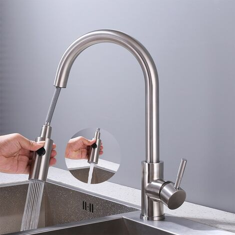 Hochdruck Wasserhahn Küche Ausziehbar, Küchenarmatur mit Brause Zwei Wasserstrahlarten, Einhebel Spültischarmatur 360° Schwenkbar, Mischbatterie Küche Edelstahl Gebürstet